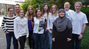 Dr Bobak - 5th from left, and Professor Hancock - far right, with their lab group in summer 2016